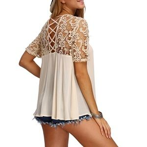 Tops - Crochet Sleeve Blouse In Apricot